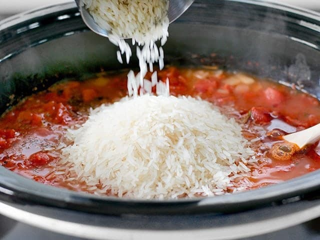 Add Rice to Slow Cooker