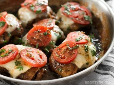 A simple marinade adds big flavor to this fast and easy Balsamic Chicken Skillet with creamy mozzarella and fresh tomatoes. BudgetBytes.com