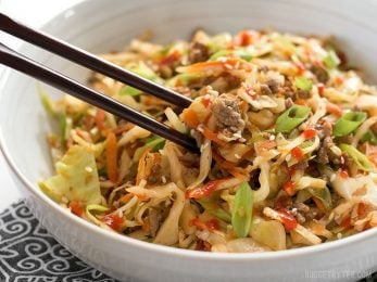 This fast and easy Beef and Cabbage Stir Fry is a filling low carb dinner with big flavor. BudgetBytes.com