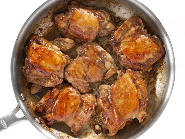 Chicken browning in the skillet