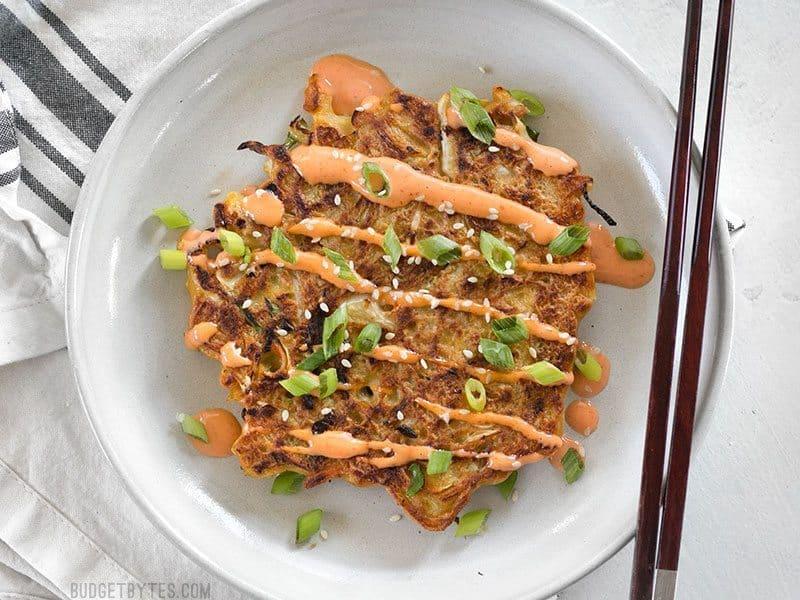 Savory Cabbage Pancakes Okonomiyaki Budget Bytes