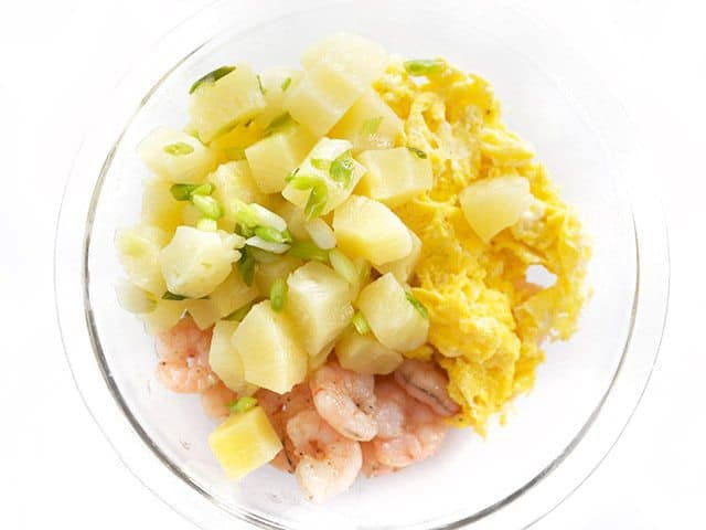 Cooked Green Onion and Pineapple