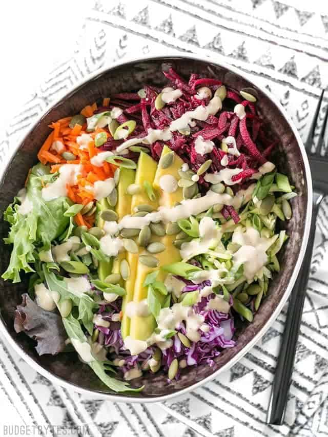 Top view of a Purple Power Bowl with fork on the side
