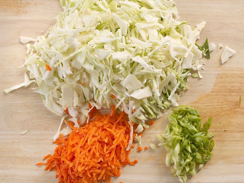 Shredded cabbage and carrot, sliced green onion