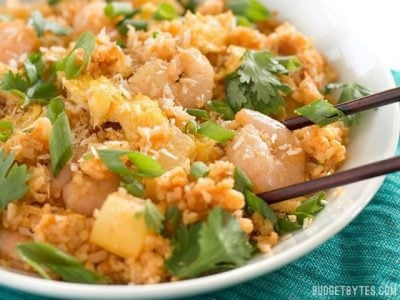 Shrimp Fried Rice with Pineapple and Toasted Coconut