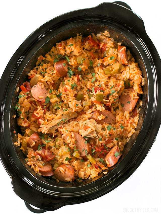 Top view of Slow Cooker Jambalaya in slow cooker