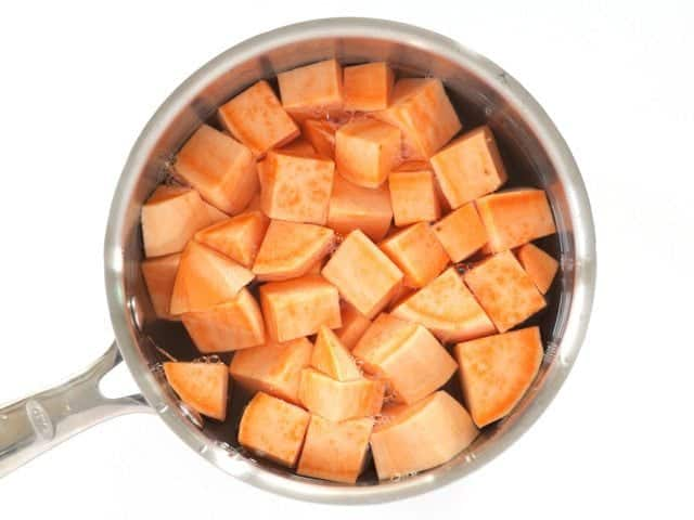 Cubed Sweet Potatoes Ready to Boil in pot