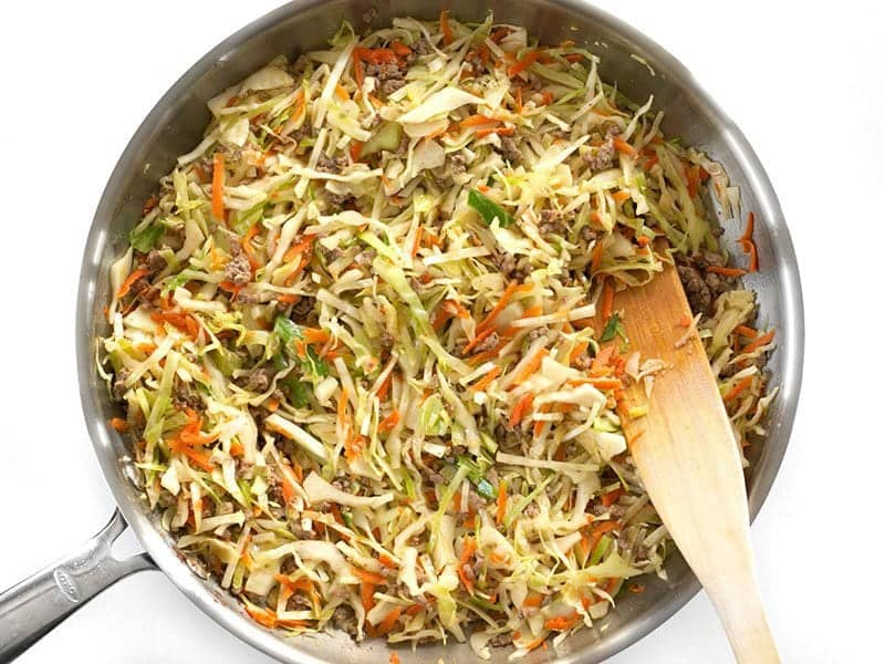 Wilted Cabbage and Carrots in skillet