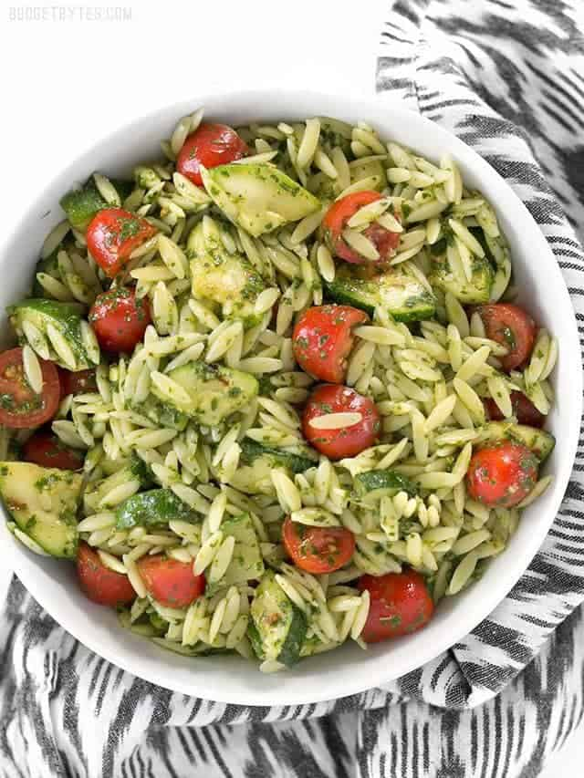 Zucchini and Orzo Salad with Chimichurri is a fresh summer salad that ...