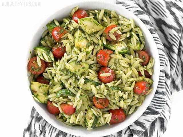 Zucchini and Orzo Salad with Chimichurri is a fresh summer side with bold herbal flavors. BudgetBytes.com