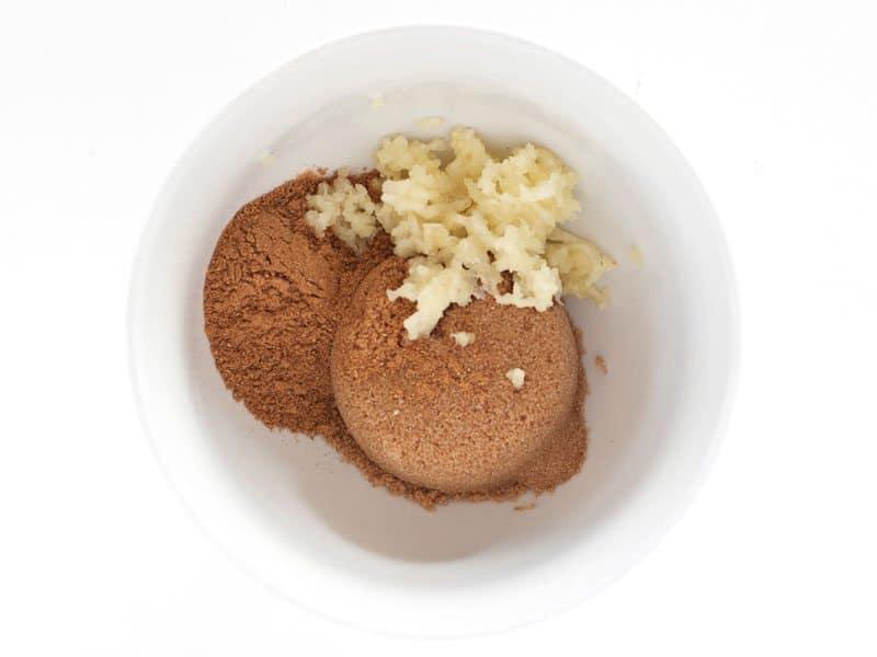 Brown Sugar, Garlic, and 5 Spice powder in a bowl