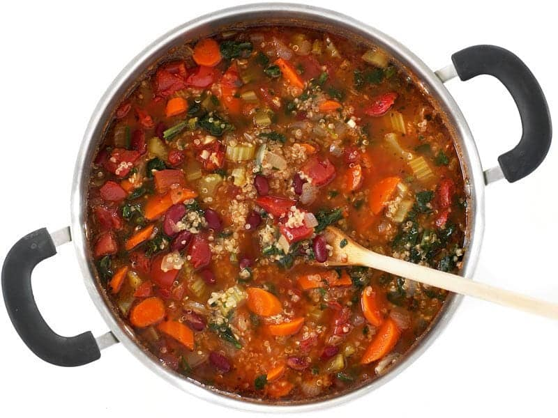 Finished Garden Vegetable Quinoa Soup in the pot