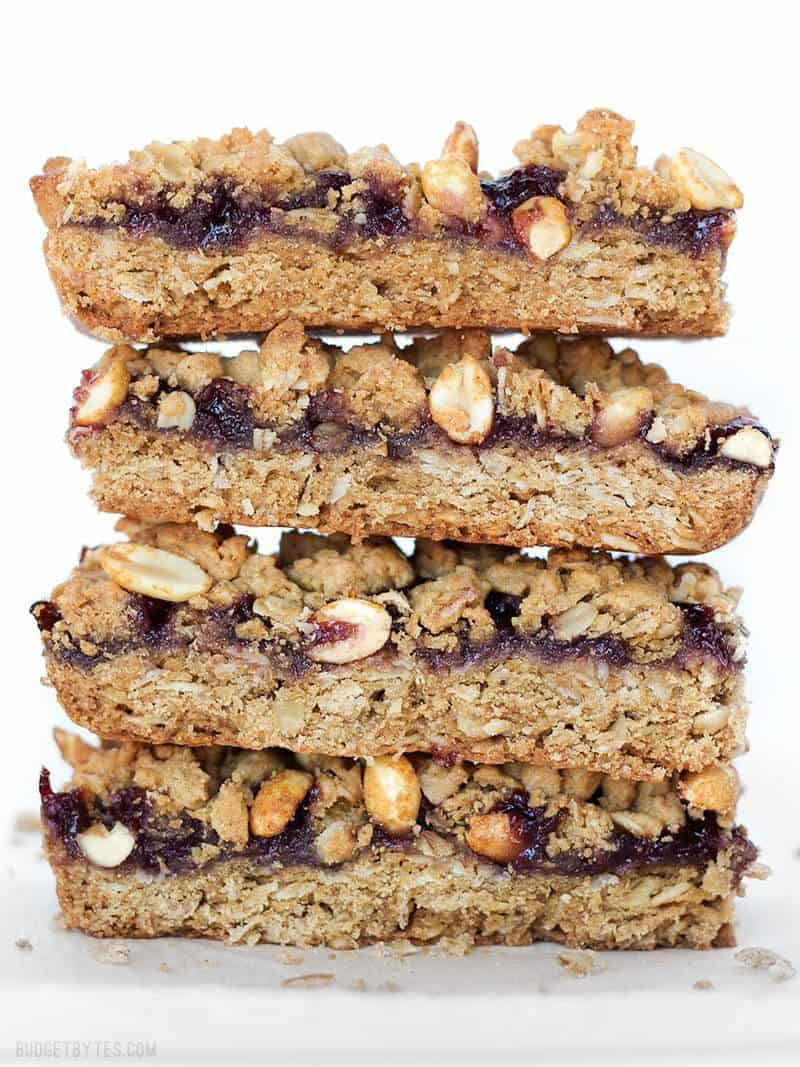 Side view of a stack of Peanut Butter and Jelly Bars