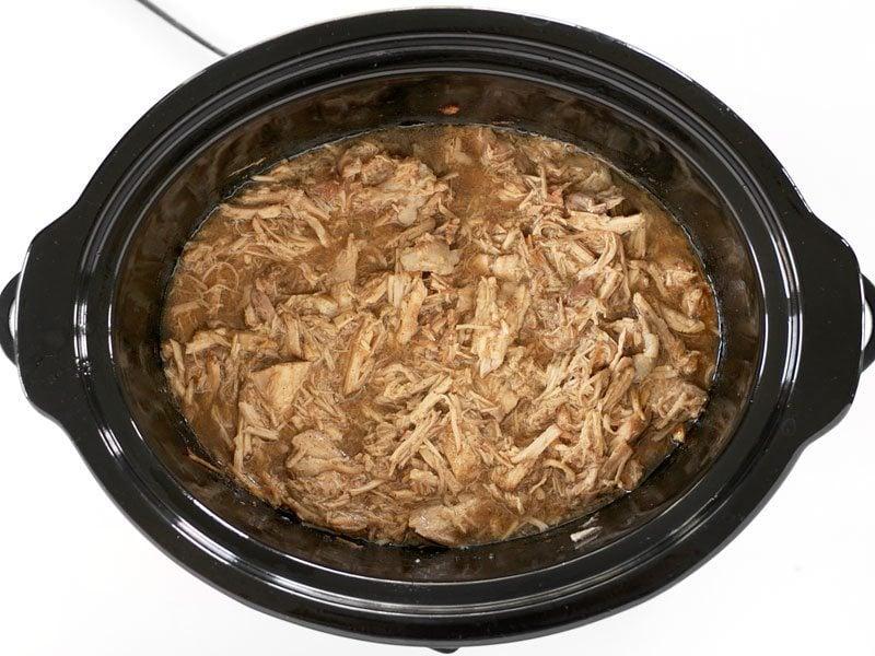 Return Shredded Pork to Liquid in the slow cooker