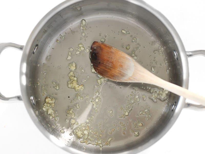 Sautéed Garlic in the pot