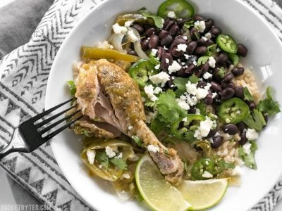 Slow Cooker Salsa Verde Chicken Bowls