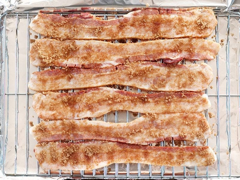 Uncooked Brown Sugar Bacon ready to go into the oven