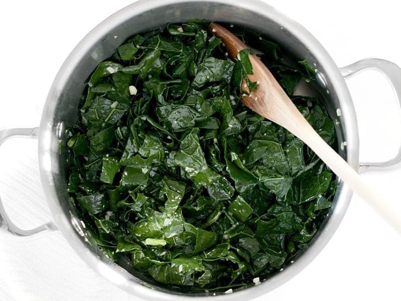 Wilted Kale in the pot with garlic