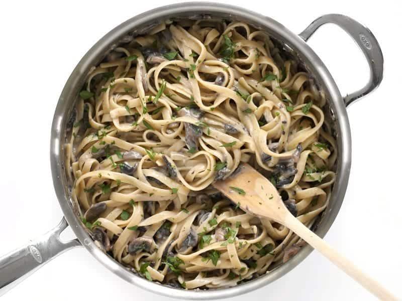 Add Pasta to creamy mushroom sauce and Heat Through