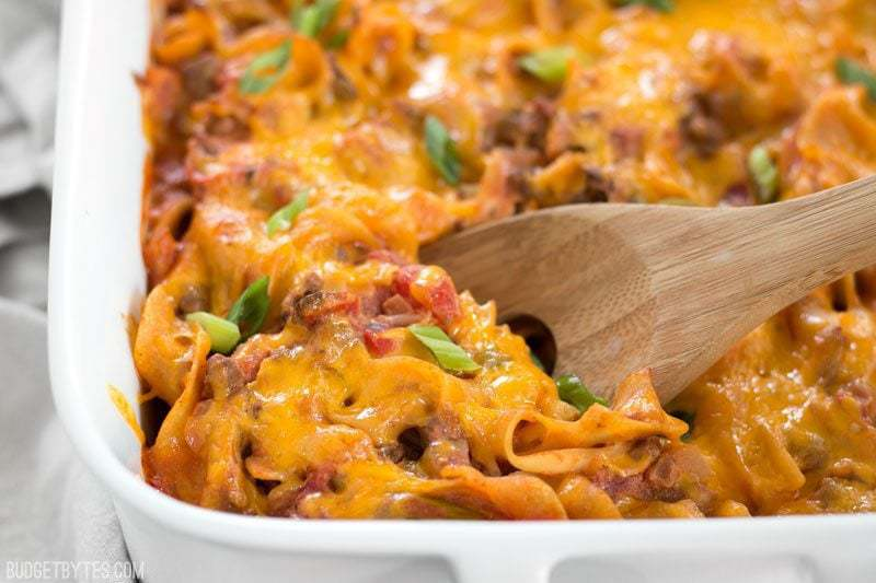 Beef & Mushroom Country Casserole is a filling and flavorful hot meal that the whole family will love, and with NO cream of soups! BudgetBytes.com
