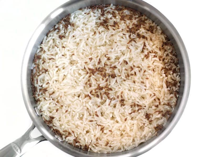 Cooked Cumin Rice in the pot