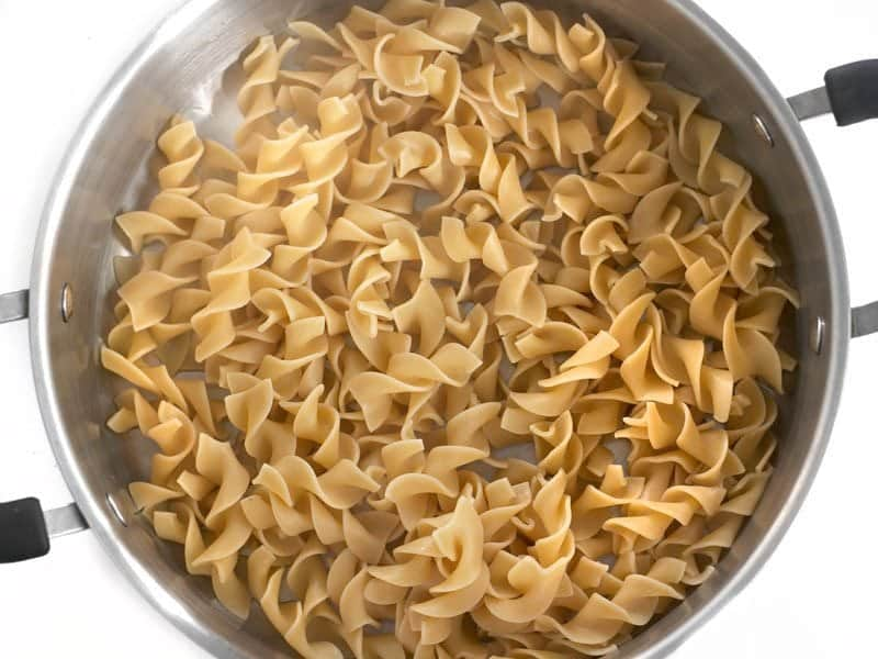 Cooked Egg Noodles in the pot
