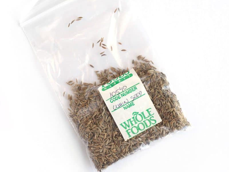 Cumin Seeds from bulk bins in a small plastic bag