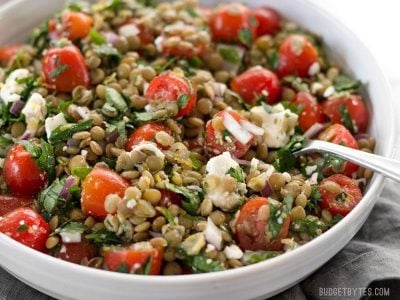 Marinated Lentil Salad is bright and flavorful, and infused with bold flavors like garlic and lemon. BudgetBytes.com
