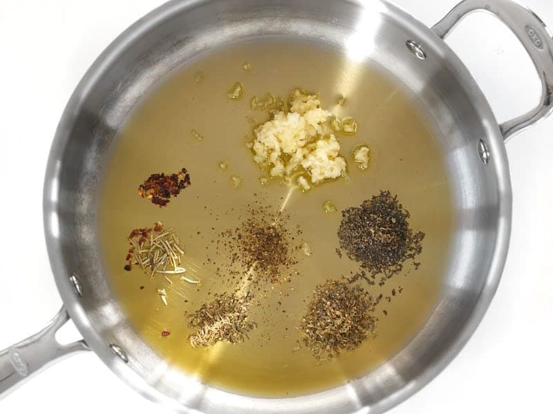 Oil and Herbs in the skillet