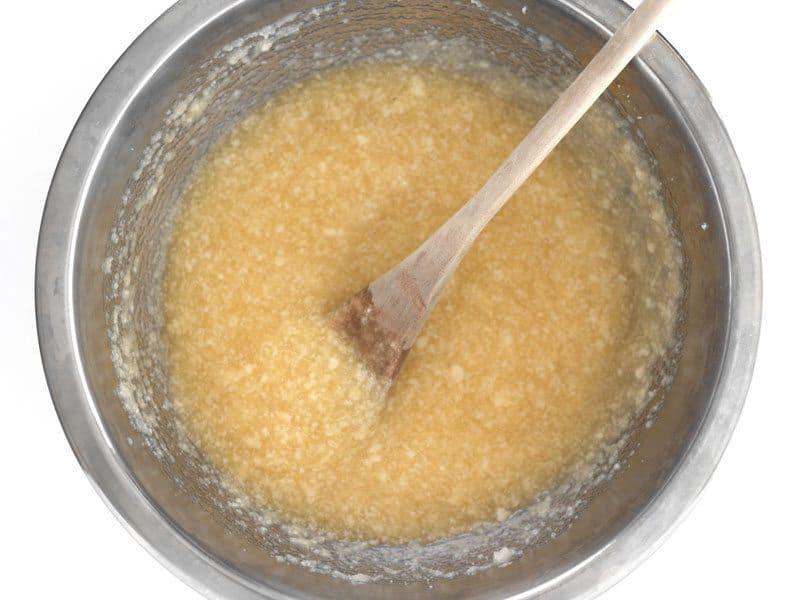 Stir Applesauce into butter and sugar mixture