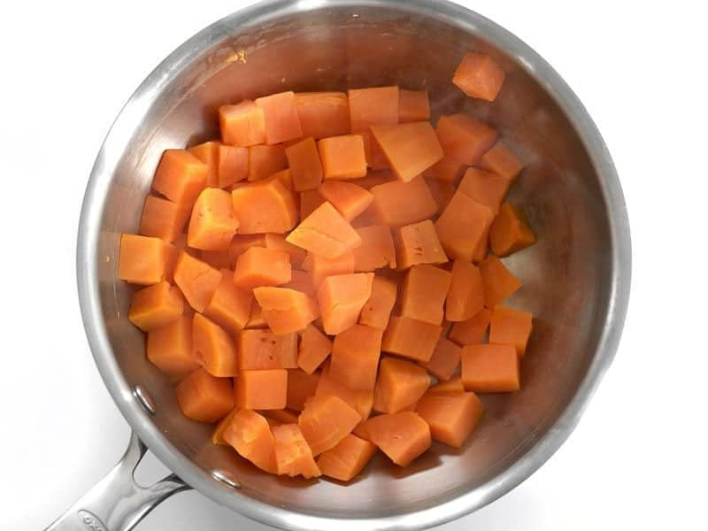 Boiled Sweet Potatoes drained and in a bowl