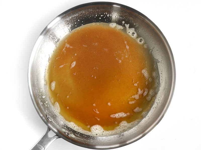 Fully Browned Butter in the skillet, caramel color