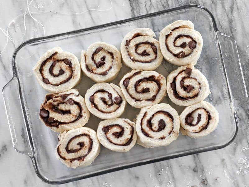 Chocolate Cinnamon Buns in baking dish Ready to Bake