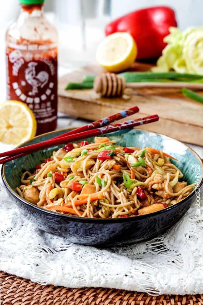 Honey Sriracha Chicken Noodle Bowls