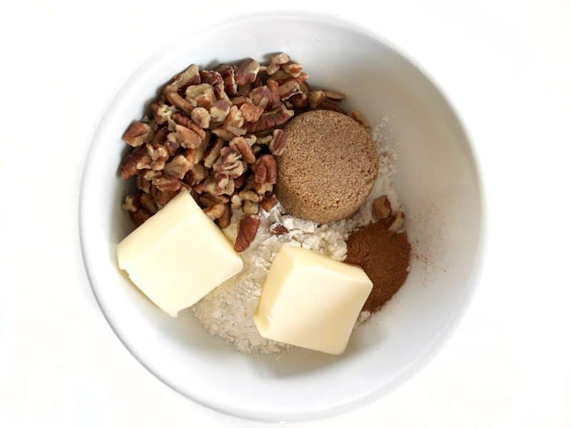 Pecan Crumble Topping ingredients in a bowl.