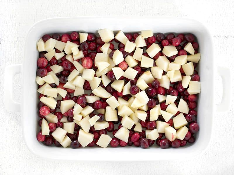Raw apples and cranberries