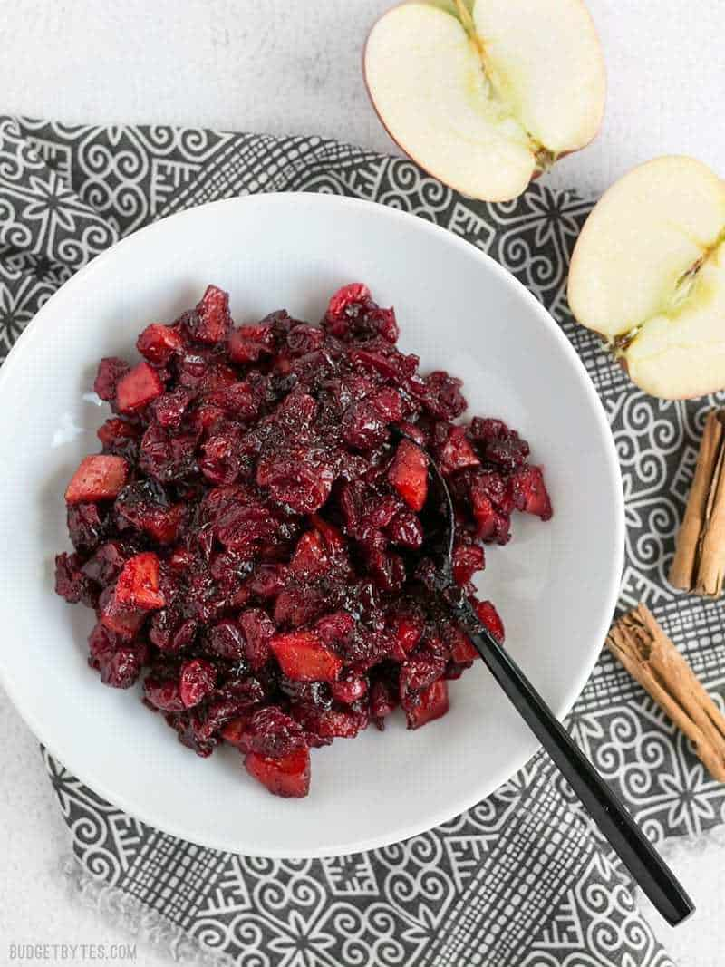 Roasted Apple Cranberry Relish is a thick, jam-like condiment whose uses go far beyond the Thanksgiving table. BudgetBytes.com