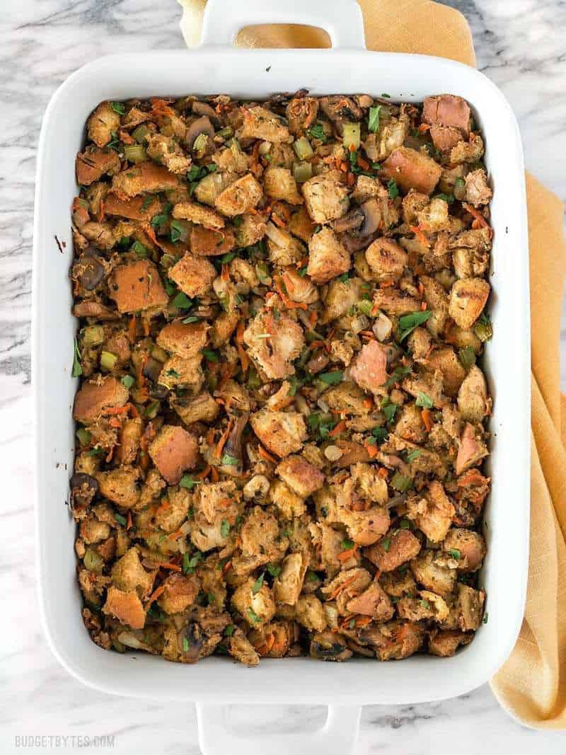 Overhead view of Savory Vegetable Stuffing in the casserole dish