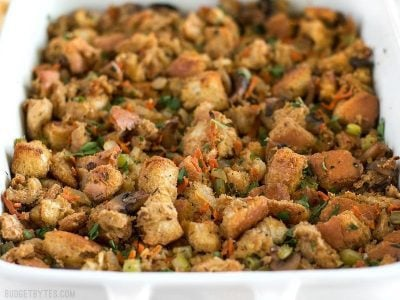 This Savory Vegetable Stuffing is full of so much color, texture, and flavor that it will be loved by meat-eaters and vegetarians alike. BudgetBytes.com
