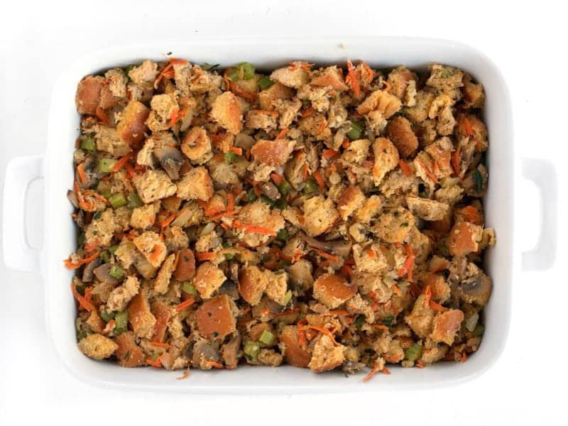 Stuffing in the casserole dish, Ready to Bake