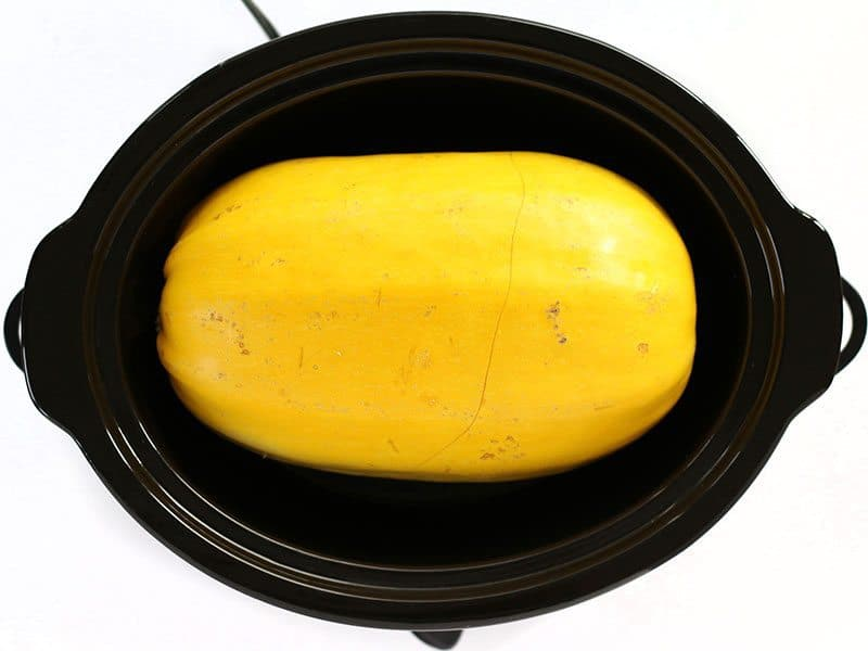 Uncooked Spaghetti Squash in a slow cooker