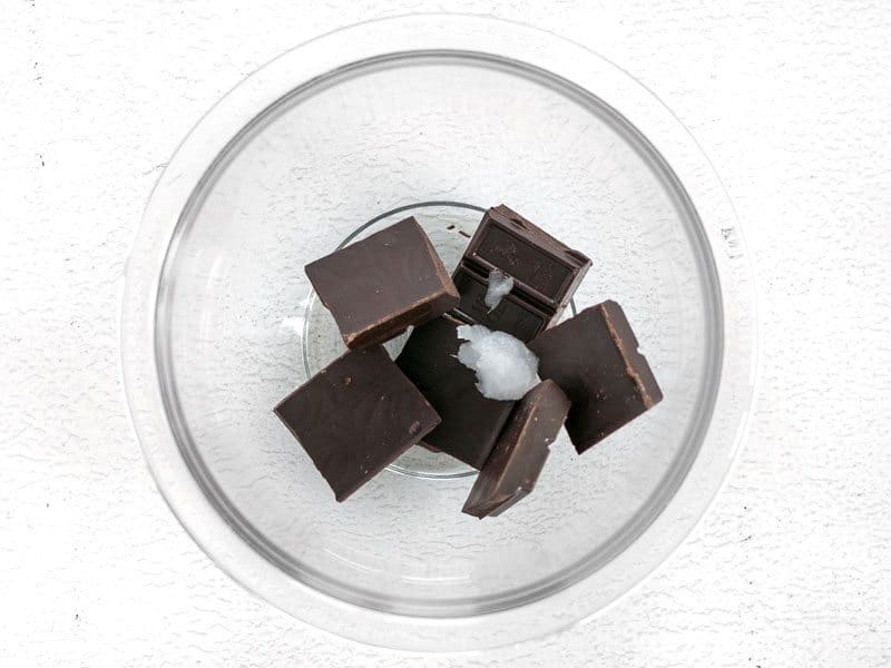 Chocolate and Coconut Oil in a glass bowl