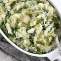 Colcannon is a simple Irish recipe that combines two hearty but inexpensive ingredients to make a delicious and filling side dish. BudgetBytes.com