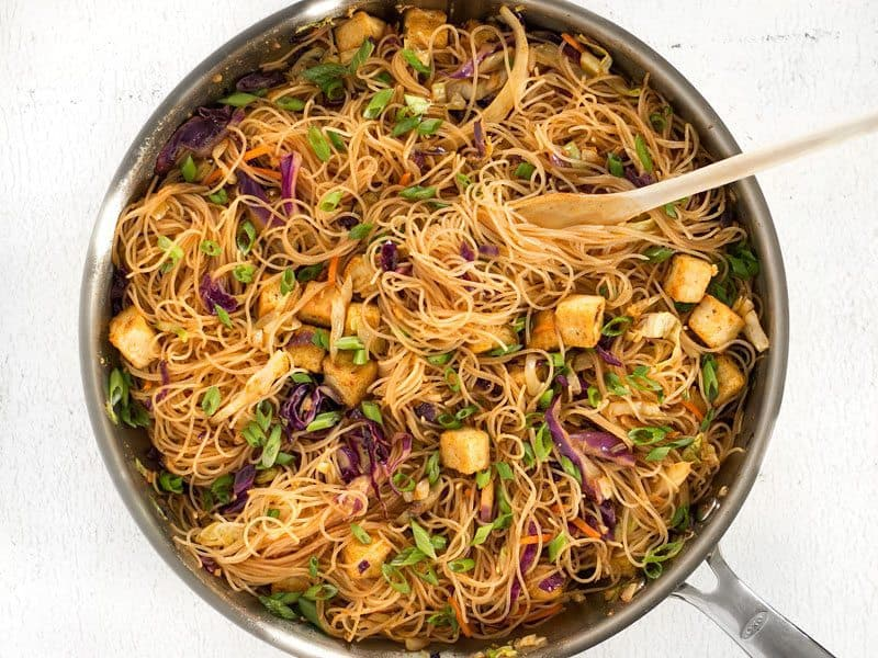 Finished Singapore Noodles with Crispy Tofu