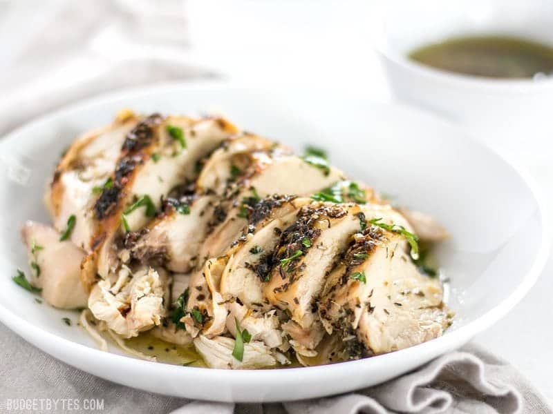 This juicy and tender Herb Roasted Chicken Breast is a breeze to make and is a great substitute for store bought rotisserie chicken. BudgetBytes.com
