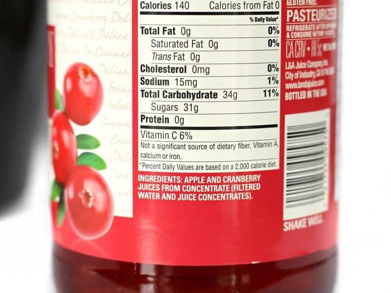 Juice Ingredients on label