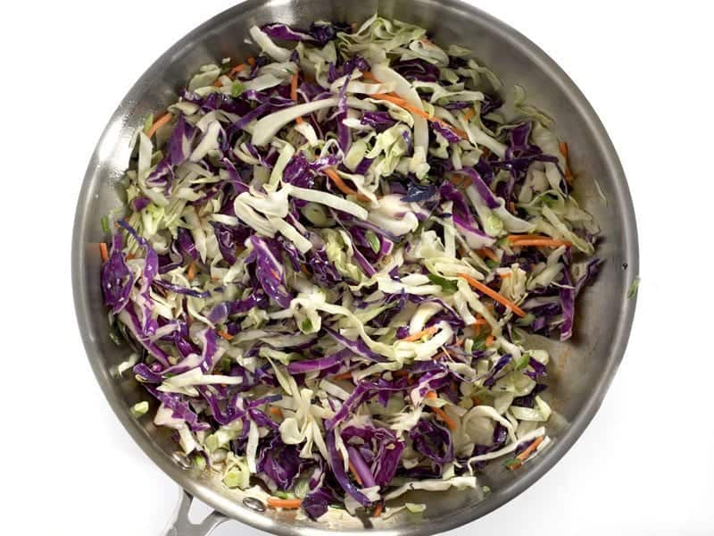 Sautéed Slaw Mix in the skillet
