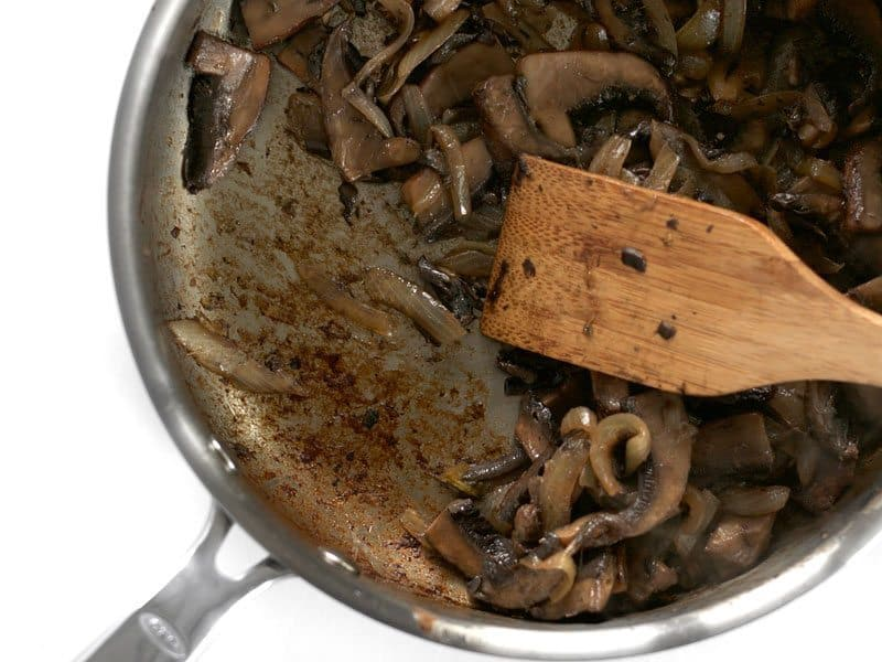 Sauté Mushrooms until browned and coating skillet
