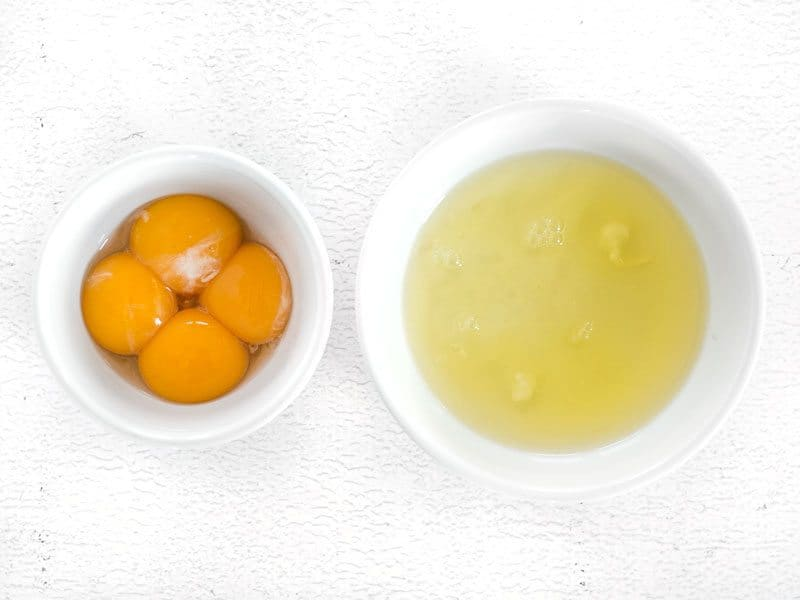 Separate Egg yolks and whites into two separate bowls