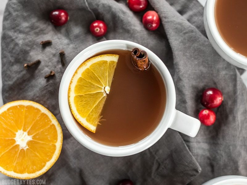 Slow Cooker Spiced Cranberry Apple Cider is an easy and festive drink for all your holiday party guests. BudgetBytes.com